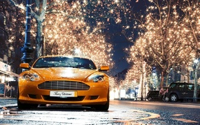trees, Aston Martin, cars, headlights, auto