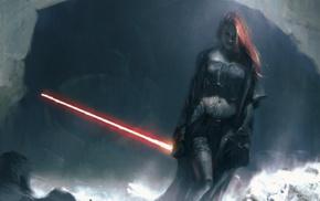 fantasy art, concept art, redhead, Star Wars, artwork, lightsaber