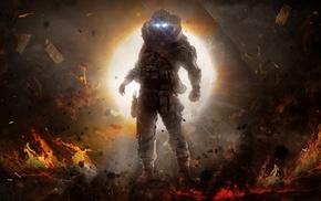 concept art, fantasy art, explosion, artwork, futuristic, Titanfall