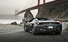 Ferrari 458 Spider, Ferrari, bridge, road