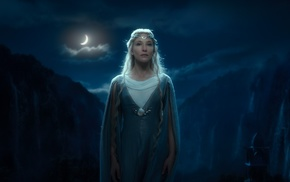 Galadriel, blonde, moonlight, The Lord of the Rings The Fellowship of the Ring, elves, fantasy art