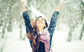 winter, people, joy, girl, face