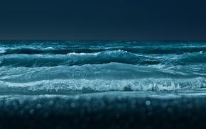 вода, волны, море, ночь