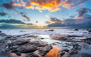 clouds, stones, water, waves, coast, sunset