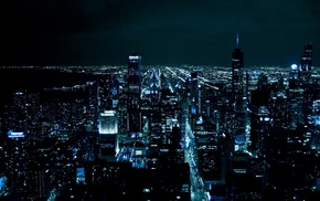 skyscrapers, city, cities, USA, night