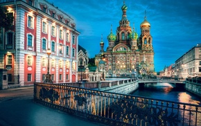 St. Petersburg, cityscape, river, building, Russia, Church of the Savior on Blood