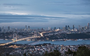 river, cityscape, Turkey, bridge, Istanbul, building