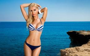 fashion model, swimwear, ocean, rocks, blonde