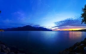 sunset, mountain, sea, nature