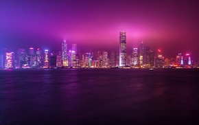cityscape, building, lights, sea