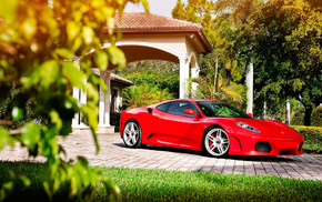 supercar, red, Italy, sportcar, house