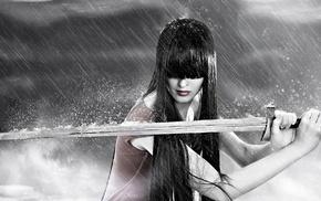люди, челка, меч, дождь