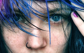 pierced nose, blue hair, blue eyes, girl