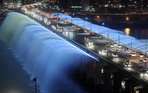 city, lighting, water, lights, bridge