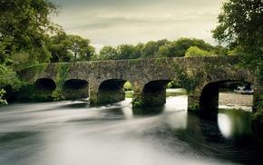 небо, мост, природа, лодка, река, деревья
