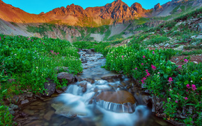 sky, flowers, mountain, creek, sunset