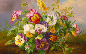 nature, stunner, flowers, painting, insect