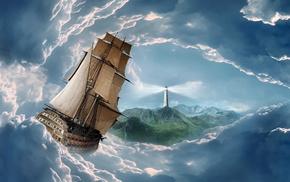 облака, маяк, горы, 3d, фотошоп, парусник