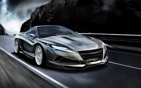 mountain, speed, sportcar, headlights, road