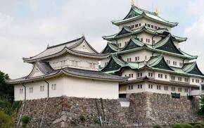 строения, булыжник, Замок, красота, зелень, пагода