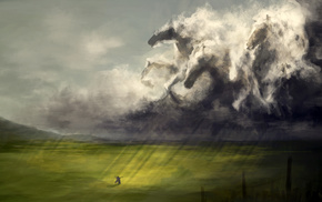 horses, stunner, clouds, rays, girl