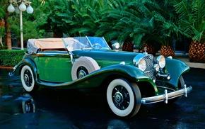 road, retro, cars, auto, palm trees