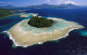 риф, лес, горы, природа, облака, джунгли