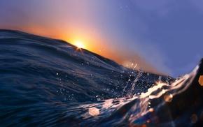макро, океан, небо, капли, закат, вода