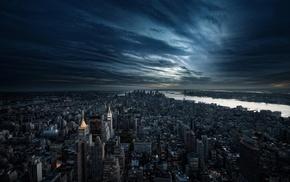 bay, sky, sunset, USA, cities
