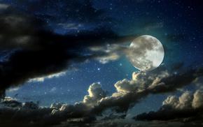 космос, звезды, облака, небо, луна, красивые