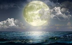 moon, light, night, sea, stunner