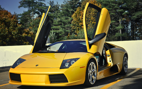 желтая, автомобили, двери, ламборджини, мурсилаго, murcielago