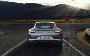 Porsche, rear view, gray, cars, road