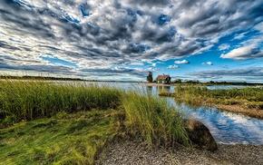 clouds, lodge, lake, stunner