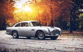 cars, Aston Martin, sunset, retro, autumn