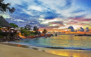 sky, island, nature, ocean, beach