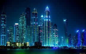 night, lights, Dubai, city, cities