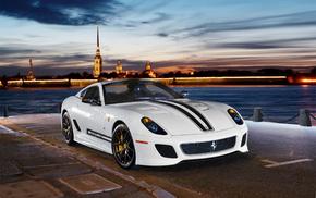 white, cars, Ferrari