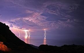 ocean, sky, rocks, night, photo