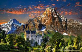 landscape, stunner, trees, castle, mountain