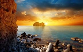 пейзаж, пляж, скалы, закат, небо, природа