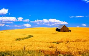 house, landscape, field, sky, clouds
