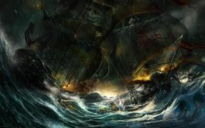 ship, fantasy art, pirates