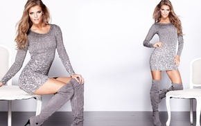 dress, brunette, simple background, legs, Nina Agdal, tight clothing