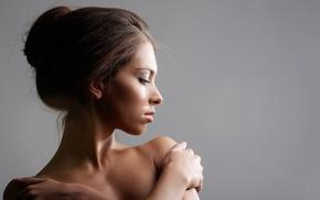 девушка, лицо, брюнетка, оголенные плечи, гладкая кожа