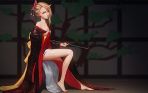 традиционная одежда, оригинальные персонажи, девушки из аниме, кимоно
