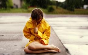 girl, rain