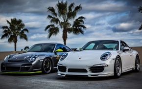 palm trees, cars, supercar, Porsche, sportcar