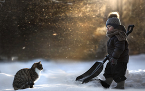 winter, animals, cat, snow, boy