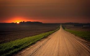 sunset, plains, path, landscape, dirt road